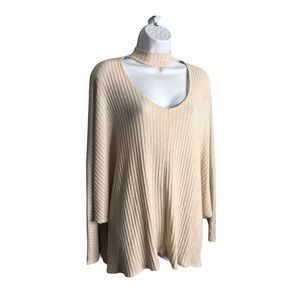 Urban Outfitters | Cream Cut Out Chest Rib Sweater